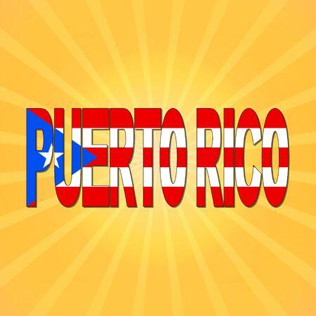 rican: Puerto Rico flag text with sunburst illustration Stock Photo