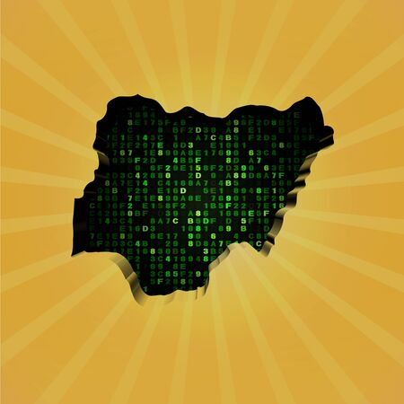 hex: Nigeria sunburst map with hex code illustration