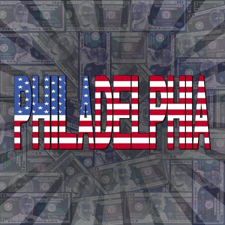 philadelphia: Philadelphia flag text on dollars sunburst illustration