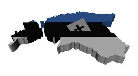 estonia: Estonia election map with ballot paper illustration Stock Photo