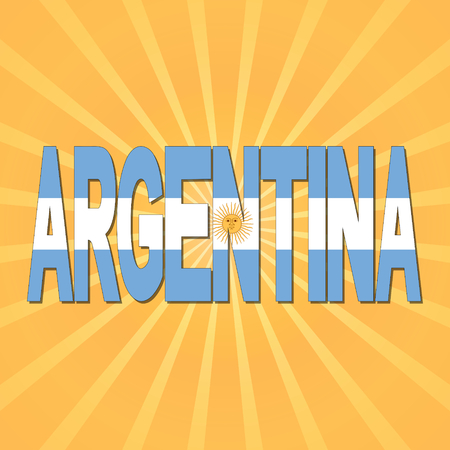 argentina flag: Argentina flag text with sunburst illustration