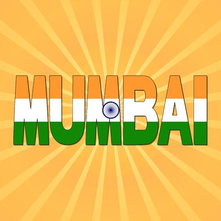 mumbai: Mumbai flag text with sunburst illustration Stock Photo