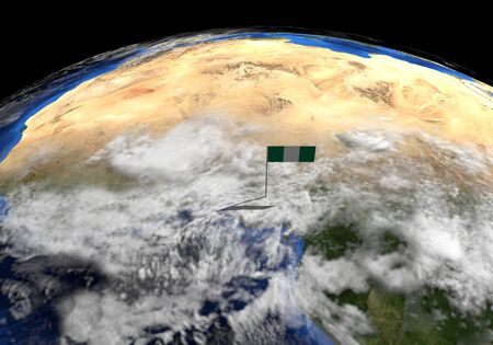 elevated: Nigeria flag on pole on earth globe illustration - Elements of this image furnished by NASA Stock Photo