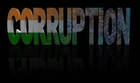the corruption: Corruption text with Indian flag and currency illustration