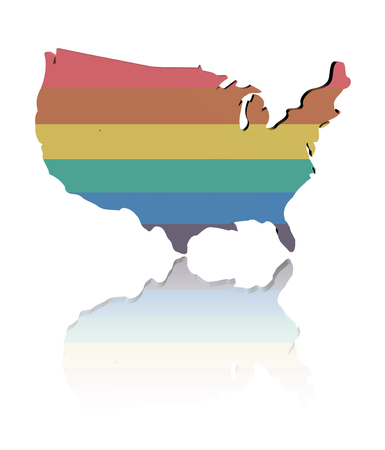 homosexual wedding: USA map with rainbow flag reflected illustration