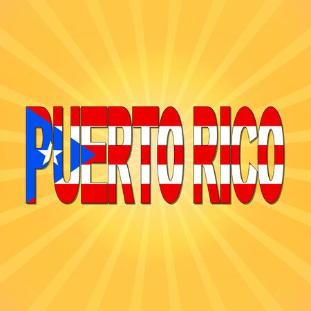 puerto rico: Puerto Rico flag text with sunburst illustration Stock Photo