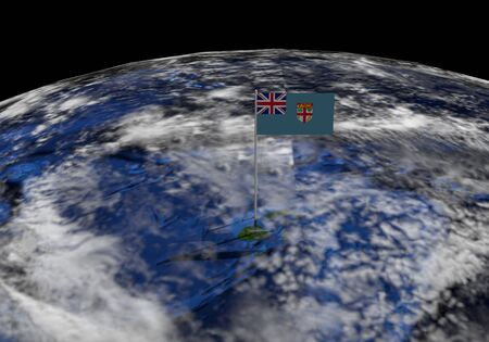 elevate: Fiji flag on pole on earth globe illustration - Elements of this image furnished by NASA