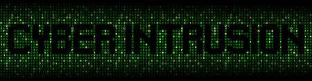 cyber war: Cyber Intrusion text on hex code illustration