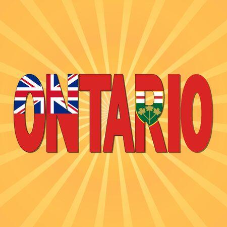 ontario: Ontario flag text with sunburst illustration Stock Photo