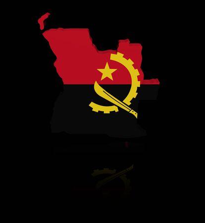 angola: Angola map flag with reflection illustration Stock Photo