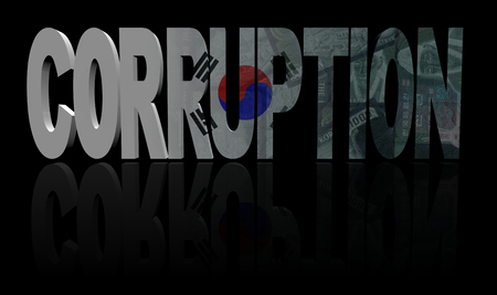 bribery: Corruption text with South Korea flag and currency illustration