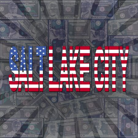 salt lake city: Salt Lake City flag text on dollars sunburst illustration Stock Photo