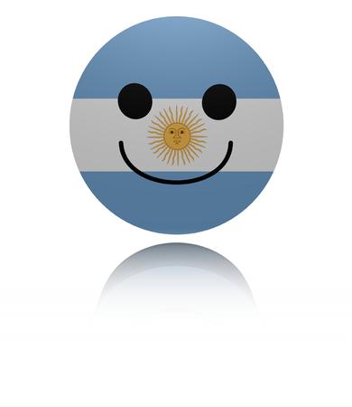 joyous: Argentina happy icon with reflection illustration Stock Photo