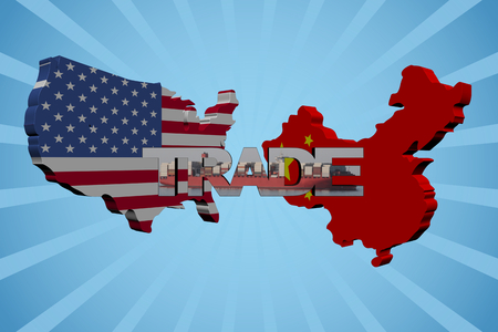 mapa de china: Banderas mapa estadounidenses y chinos con la ilustraci�n del texto del comercio