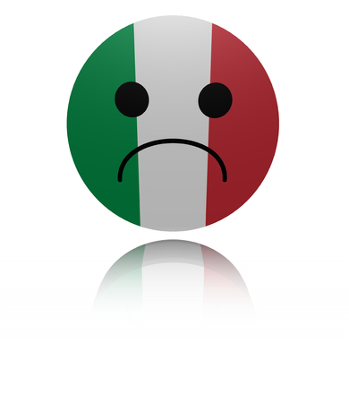 sorrowful: Italy sad icon with reflection illustration