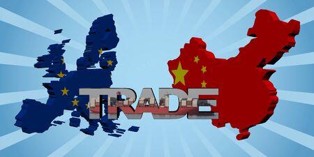 mapa de china: UE y banderas mapa chinos con la ilustraci�n del texto del comercio