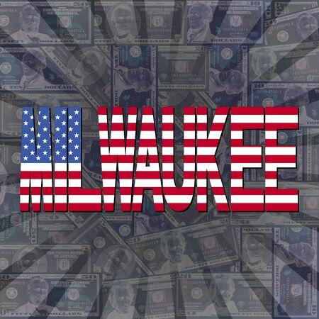 milwaukee: Milwaukee flag text on dollars sunburst illustration