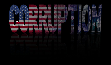 dishonesty: Corruption text with American flag and currency illustration Stock Photo