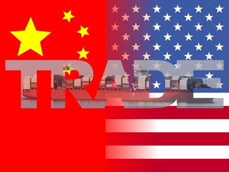 chinese american: Chinese American flags with trade text illustration Stock Photo