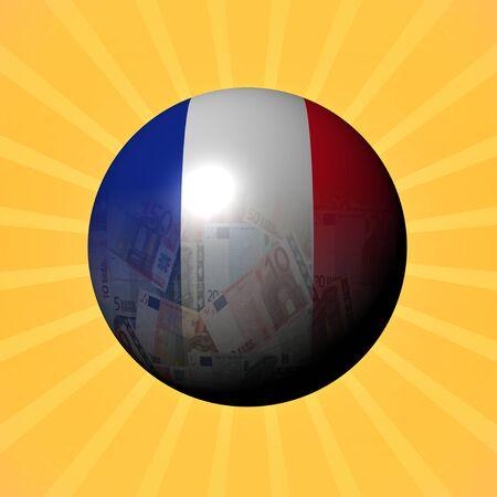 money sphere: France flag euros sphere on sunburst illustration