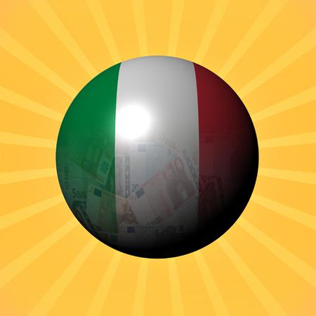 money sphere: Italy flag euros sphere on sunburst illustration