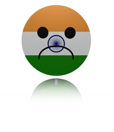 sorrowful: India sad icon with reflection illustration Stock Photo