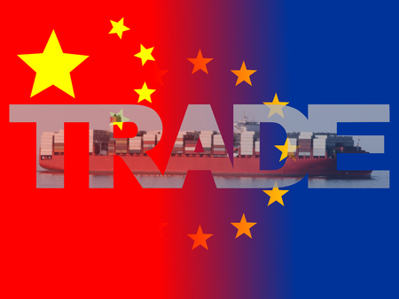 import trade: Chinese EU flags with trade text illustration Stock Photo