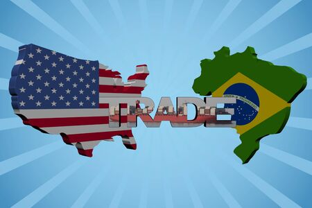 freighter: American and Brazilian map flags with trade text illustration Stock Photo
