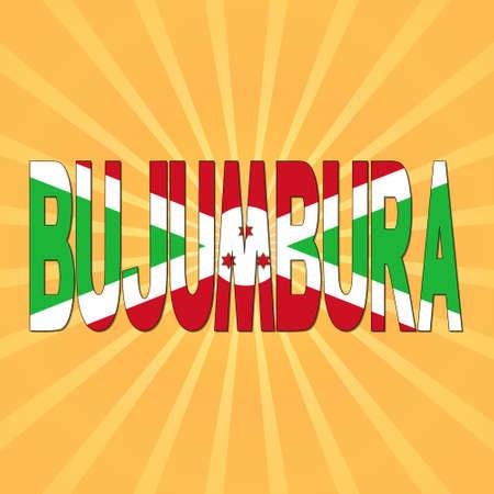Bujumbura flag text with sunburst illustration Stock Photo