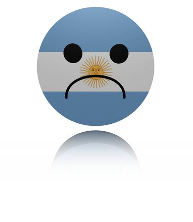 mournful: Argentina sad icon with reflection illustration