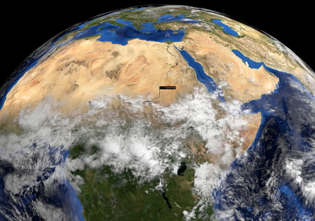 elevated: Sudan flag on pole on earth globe illustration - Elements of this image furnished by NASA