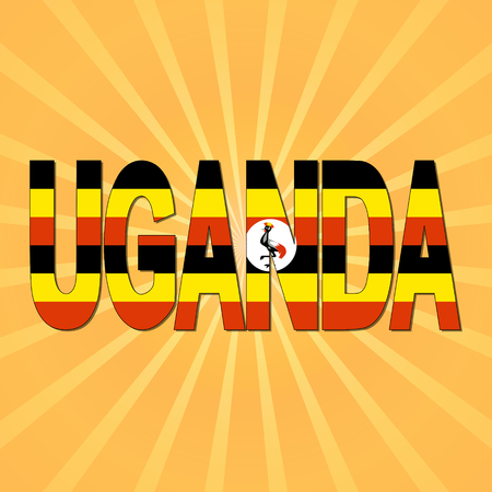 ugandan: Uganda flag text with sunburst illustration