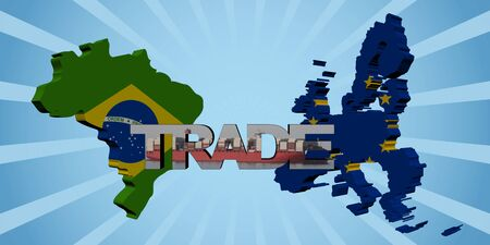 import trade: Brazil EU map flags with trade text illustration