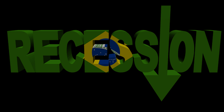 recession: Recession text arrow with Brazilian flag illustration