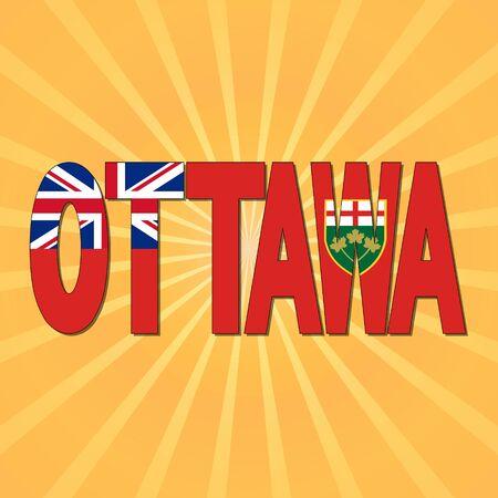 ottawa: Ottawa flag text with sunburst illustration