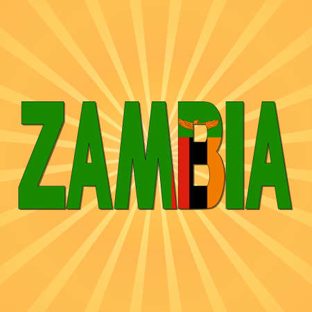 zambia: Zambia flag text with sunburst illustration