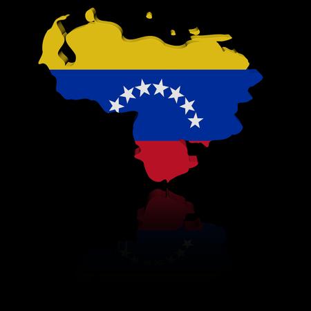 mapa de venezuela: Mapa de la bandera de Venezuela con ilustración de reflexión