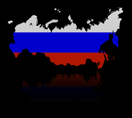 federation: Russian Federation map flag with reflection illustration