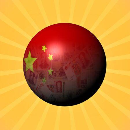 yuan: China flag yuan sphere on sunburst illustration Stock Photo
