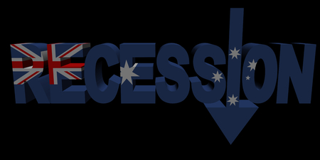 recession: Recession text arrow with Australian flag illustration