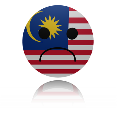 sorrowful: Malaysia sad icon with reflection illustration Stock Photo