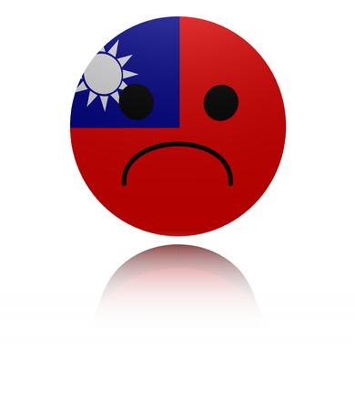 sorrowful: Taiwan sad icon with reflection illustration