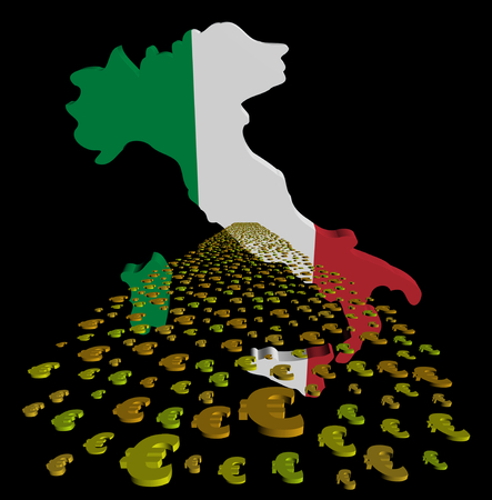 foreground: Italy map flag with euros foreground illustration