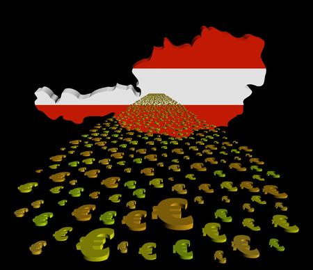 austria map: Austria map flag with euros foreground illustration