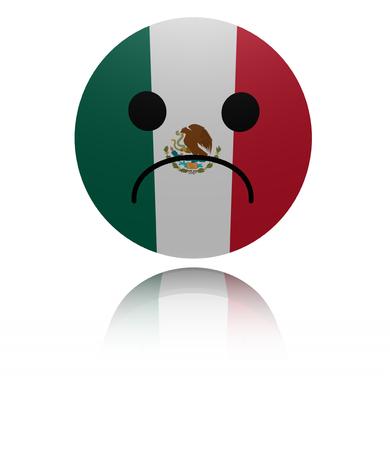 sorrowful: Mexico sad icon with reflection illustration