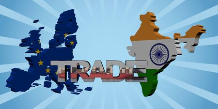 import trade: EU and Indian map flags with trade text illustration
