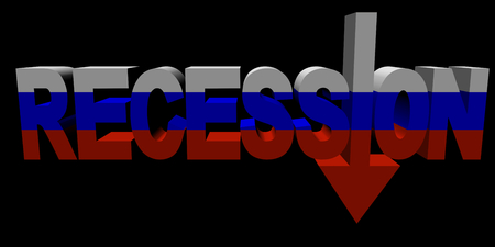 economic downturn: Recession text arrow with Russian Federation flag illustration