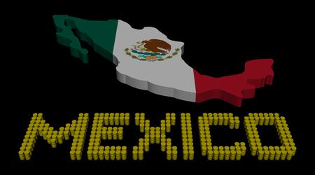 bandera de mexico: Texto barril M�xico con el mapa ilustraci�n de la bandera Foto de archivo