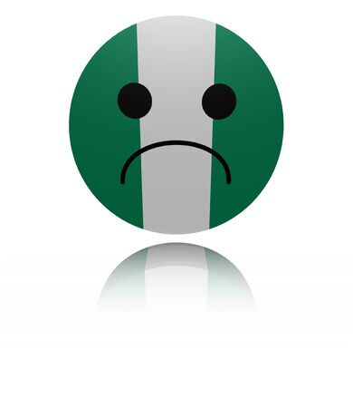 sorrowful: Nigeria sad icon with reflection illustration Stock Photo