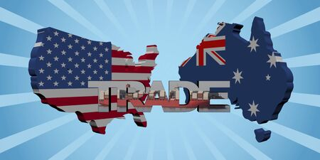 freighter: USA Australia map flags with trade text illustration Stock Photo